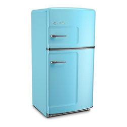 Big Chill - Big Chill Original 20.9 cu. ft. Top-Freezer Refrigerator - Beach Blue - The Big Chill Original Fridge in Beach Blue has the retro style you want with the modern amenities you need. The look of this blue fridge may be straight out of the 50s, but with its energy star rating, spacious 20.9 cu ft. interior, frostless temperature management, and a durable design that resists chips and dent, it is a Modern Made Classic. This Beach Blue fridge adds retro style, and modern functionality to any kitchen decor.