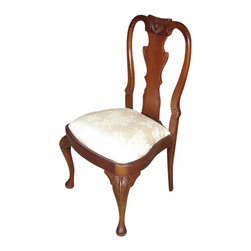 MBW Furniture - Solid Mahogany Queen Anne Occasional Side Chair - This is a beautiful solid mahogany Queen Anne occasional side chair. It features a solid mahogany frame that has a beautiful splat back with elegant carved scrolls and foliage designs and it has distinguished cabriole legs with acanthus leaves and pad feet. The removable seat is very comfortable and it has beautiful shimmering golden fabric with floral designs. This chair is a showroom model and may have some minor imperfections including some light stains on the fabric which may be removable, but as shown it is overall in very good condition. It is shipped assembled.