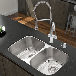 """Vigo - All in One 32"""" Undermount Stainless Steel Kitchen Sink & Chrome Faucet Set - Breathe new life into your kitchen with a VIGO All in One Kitchen Set featuring a 32"""" Undermount kitchen sink, faucet, soap dispenser, matching bottom grids, and strainers.; The VGR3218BL double bowl sink is manufactured with 18 gauge premium 304 Series stainless steel construction with commercial grade premium satin finish; Fully undercoated and padded with a unique multi layer sound eliminating technology, which also prevents condensation.; All VIGO kitchen sinks are warranted against rust; Exterior Measures: 32 1/4""""W x 18 1/2""""D; Each bowl's interior dimensions: 14 5/8""""W x 16 1/2""""D; Bowl depth: 9"""" (larger bowl) and 5"""" (smaller bowl); Required interior cabinet space: 35""""; Kitchen sink is cUPC and NSF-61 certified by IAPMO; All mounting hardware and cutout template provided for 1/8"""" reveal or flush installation; The VG02006CH Kitchen faucet features a spiral pull-down spray head for powerful spray and separate spout for aerated flow, and is made of solid brass with a chrome finish.; Includes a spray face that resists mineral buildup and is easy-to-clean; High-quality ceramic disc cartridge; Retractable 360-degree swivel spout expandable up to 20""""; Single lever water and temperature control; All mounting hardware and hot/cold waterlines are included; Water pressure tested for industry standard, 2.2 GPM Flow Rate; Standard US plumbing 3/8"""" connections; Faucet height: 28""""; Spout reach: 8 5/8""""; Faucet sprayer reach: 12""""; Kitchen faucet is cUPC, NSF-61, and AB1953 certified by IAPMO.; Faucet is ADA Compliant; 2-hole installation with soap dispenser; Soap dispenser is constructed of solid brass with an elegant chrome finish and fits 1 1/2"""" opening with a 3 1/2"""" spout projection.; Matching bottom grids are chrome-plated stainless steel with vinyl feet and protective bumpers.; Sink strainers are made of durable solid brass in chrome finish; All VIGO kitchen sinks and faucets have a Limited L"""