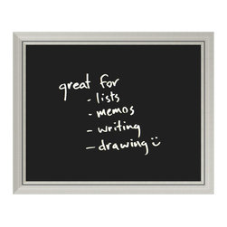 Amanti Art - 'Romana Glass Dry-Erase Board - Medium' Framed Art Print 32 x 26-inch - Perfect for writing and drawing, this glass message board works with standard neon and white dry erase markers (not included). This Romana Glass Dry-Erase Board features a burnished silver colored frame with clean lines and a raised inner lip.