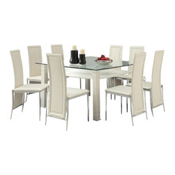 "Acme - 9-Piece Riggan Collection Modern Style Cream Leather Dinette Set - 9-Piece Riggan collection modern style cream leather like upholstered chairs square glass top dinette set . This set features a glass top table with metal base and glass top , 8 - side chairs with a cream leather like upholstery. Table measures 51"" x 55"" . Chairs measure 39"" H at the back. Some assembly required."