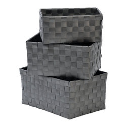 """Set of 3 Woven Strap Storage Totes Pp Grey - This set of 3 woven strap storage totes is made of polypropylene. Perfect for your bathroom, home or office, these baskets give you a functional and stylish storage option. Wipe with a damp cloth. Small basket measures 5.90""""L X 3.54""""W X 2.76""""H, Medium basket 6.69"""" L X 4.33""""W X 3.35""""H, Large basket 7.48"""" L X 5.12""""W X 3.74""""H. Color grey. This pretty set of woven strap tote baskets will complement your decor as well as being functional and will make a great addition to any closet or countertop! Complete your decoration with other products of the same collection. Imported."""