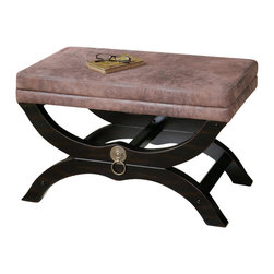 Uttermost - Uttermost Hartman Cushioned Bench - Hartman Cushioned Bench by Uttermost Velvety Soft, Faux Leather On A Satin Black Wooden Base With Antique Brass Metal Accents.