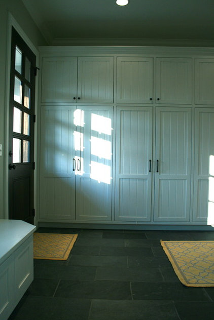 Traditional  mudroom lockers with slate floor