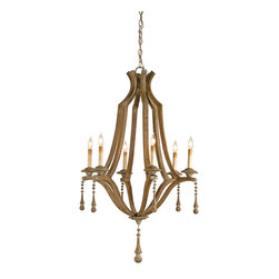 Currey & Co - Currey & Co 9256 Simplicity Washed Wood 6 Light Chandelier - 6 Bulbs, Bulb Type: 60 Watt Candelabra; Weight: 13lbs