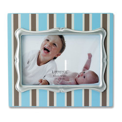 Lawrence Frames - 4x6 Blue Pinstripe Wood Picture Frame with Silver Inner Frame - Fabulous  4x6 decorative blue pinstripe picture frame with silver leaf inner frame.  High quality black wood backing with easel for table top display.  Individually boxed.