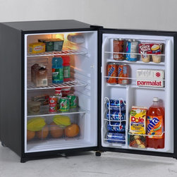 "Avanti - 4.5 cu.ft. all refrigerator, black cabinet - 4.5 CU. FT. CAPACITY, Can Dispenser in Door Holds Five12 oz. Cans, Flush Back Design, Recessed Handle, Security Door Lock Located at the Bottom of the Door,   Interior Light, Door Rack Holds 2 Liter Bottle, Crisper with Glass Top, Black with Reversible Door - Left or Right Swing, ADA Compliant, R600A CFC Free Refrigerant, Energy Star, Free standing installation only. Proper ventilation is required to maintain satisfactory cooling and overall performance. See owner's manual for proper installation requirements. Unit dimensions 32.5"" H x 20.25"" W x 21.5"" D"