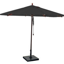 Greencorner - 11' Octagon Mahogany Umbrella, Black - 11' Octagon