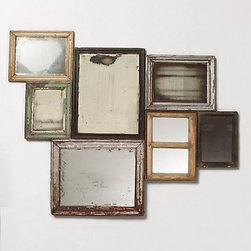"Collected Memories Mirror - Arranging a gallery of frames is no easy feat. That's why I love this collection of mirrors from Anthropologie. They're already configured and ready to hang together, meaning no unnecessary holes marking up your walls.53""H, 68"" W. Made of wood and glass. Imported."