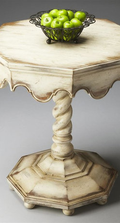 Butler - Artists Originals Octagonal Accent Table - Oak veneer top. Hand painted. Distinctively carved twist pedestal. Scalloped apron and a raised octagonal base. Made from poplar hardwood solids. Alabaster finish. 24 in. W x 24 in. D x 27.5 in. H (58 lbs.)This gorgeous octagonal table is a perfect addition to most any space. Artists Originals is a collection of fine furniture hand-painted by accomplished artists. The paintings feature florals, chinoiserie, abstracts and stripes, among other classical motifs. Each piece is unique an original piece of art for your home. Like any piece of fine art, each Artists Originals piece is designed to be the brightest spot in any room.
