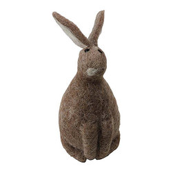 Shea's Wildflowers Company - Sophie the Sitting Bunny - Welcome spring with this sweet critter sitting on the mantelpiece. Crafted from natural materials, its friendly face and whimsical details brighten up the room with seasonal charm.   Wool Imported