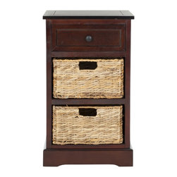 Safavieh - Carrie Side Storage Side Table - Dark Cherry - A carefree spirit infuses Carrie thanks to the side table's thoughtful design. One drawer for easy storage and two removable woven rattan baskets with cutout handles make de-cluttering and cleanup a breeze. Handsomely crafted of pine with dark cherry finish, the Carrie Storage Side Table brings a touch of classic island style to your bedroom, living room, or master bath.