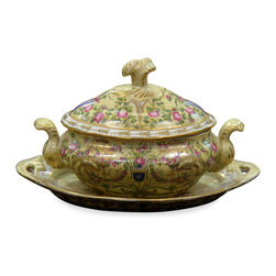 China Furniture and Arts - Hand Painted Decorative Cover Box - Beautifully hand-painted in floral motif, this cover box is versatile in use. It can be used a saucer or be displayed on a side table where it can be admired. Hand-crafted of fine porcelain.