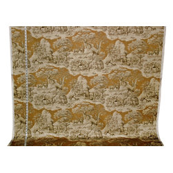 Deer Fabric Gold Toile Nature Woodland Cabin Lodge, Standard Cut - A deer fabric. A yellow gold deer toile fabric. If you need a lodge fabric or cabin fabric this is perfect! There is a co-ordinating fabric with feathers floating over a plaid background.