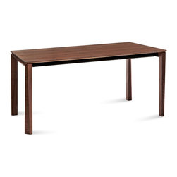 Domitalia - Universe-182 Rectangular Table - Walnut Frame - Walnut Top - The Universe-182 Dining Table features sturdy and spacious wooden frame, plus two matching extension leaves that expand this practical table from 72in to 110in, accommodating up to 12 place settings. Universe's self-contained extensions are added by pulling the table apart from each end as the legs follow the table in length, always remaining at the table's edges. The clean, modern lines of Universe Tables highlight the natural beauty of its wood veneer finishes, updating dining spaces with a new and refreshing presence that maintains a timeless appeal. Select a wood veneer finish that compliments your modern home.