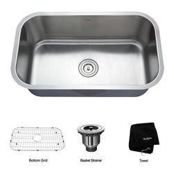 Kraus - Kraus 30 inch Undermount Single Bowl 16 gauge Stainless Steel Kitchen Sink - *Add an elegant touch to your kitchen with a unique and versatile undermount sink from Kraus