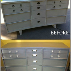 Upcycling - This contemporary dresser has new life with this silver metallic paint.