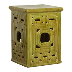 Kathy Kuo Home - Square Lattice Pierced Garden Seat Stool- Antique Yellow Green Glaze - Traditionally used in China as tea tables-these garden stools make a perfect addition to your living space as side tables, or clustered together to be used as a coffee table. Glazes are triple fired for added luster and shine. With a hand made product, glaze variations of up to 10% is to be expected.