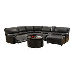 Homelegance - Homelegance Cale 3 Piece Reclining Living Room Set in Black Leather - Your living room's décor requires a bold statement piece that provides comfort and function. The Cale Collection will provide your family and friends the ultimate spot for both. Covered in a black bonded leather match that features contrast white stitching, there is a hint of masculinity that permeates the collection. Featuring plush seating along with reclining end seat, cup holders, hidden storage and reclining end chaise, each person will have the best seat in the house.