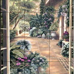 The Tile Mural Store (USA) - Tile Mural - Wood Whitesell'S Patio Studio - Kitchen Backsplash Ideas - This beautiful artwork by Betsy Brown has been digitally reproduced for tiles and depicts a garden scene with flowers, trees and plants.  This garden tile mural would be perfect as part of your kitchen backsplash tile project or your tub and shower surround bathroom tile project. Garden images on tiles add a unique element to your tiling project and are a great kitchen backsplash idea. Use a garden scene tile mural for a wall tile project in any room in your home where you want to add interesting wall tile.