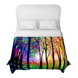 DiaNoche Designs - Autumn Eve II Duvet Cover - Lightweight and super soft brushed twill duvet cover sizes twin, queen, king. Cotton poly blend. Ties in each corner to secure insert. Blanket insert or comforter slides comfortably into Duvet cover with zipper closure to hold blanket inside. Blanket not Included. Dye Sublimation printing adheres the ink to the material for long life and durability. Printed top, khaki colored bottom. Machine washable. Product may vary slightly from image.