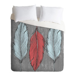 DENY Designs - Wesley Bird Feathered Duvet Cover - Turn your basic, boring down comforter into the super stylish focal point of your bedroom. Our Luxe Duvet is made from a heavy-weight luxurious woven polyester with a 50% cotton/50% polyester cream bottom. It also includes a hidden zipper with interior corner ties to secure your comforter. it's comfy, fade-resistant, and custom printed for each and every customer.