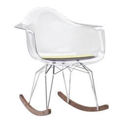 Kubikoff - Diamond Rocker Chair, Clear, Turquoise Seat Pad, Chrome Legs, Walnut Runner - Diamond Rocker Chair