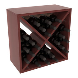 """Wine Racks America - 24 Bottle Wine Storage Cube in Premium Redwood, Cherry Stain + Satin Finish - A wine rack focused on flexibility; buy 1 or buy 100. Perfect for stacking, filling small spaces, and converting that """"underneath"""" space into wine storage. Mix and match finishes to illustrate your true wine-lover's spirit or contrast colors for a modern wine rack twist."""