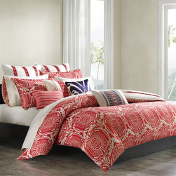 Echo - Echo Cozumel Duvet Cover Set - Our Cozumel Bedding set features a fashion forward color palette of exciting coral and ivory in an ethnic medallion pattern. The duvet cover reverses to a neutral ivory and white tribal pattern and each set includes shams. Duvet and sham Face: 100% cotton printed fabric; Back: T180 100% cotton printed.