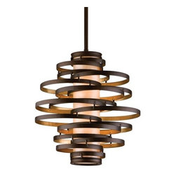 Corbett Lighting - Corbett Lighting 113-42 Vertigo 2 Light Modern Pendant with Hand Crafted Iron Fr - The Vertigo collection is an intertwining collage of circular hand-crafted rings fused together to create a contemporary collection with a truly inspired concept. Available in a dizzying array of pendant and wall sconce sizes, the collection is finished in a bronze and gold leaf combination or a modern silver leaf. Vertigo is the perfect mixtures of motion and balance.Features: