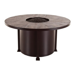 O W Lee Company Inc - O.W. Lee Casual Fireside Santorini 54 in. Round Dining Height Fire Pit Table - 5 - Shop for Fire Pits and Fireplaces from Hayneedle.com! Anyone who's ever tried to light clean or get that I'm-a-brisket smell out of their clothes and hair after using a wood-burning fire bowl can easily tell you about the benefits of the propane-powered O.W. Lee Casual Fireside Santorini 54 in. Round Dining Height Fire Pit Table. Using a standard propane canister this wrought iron fire pit features the frame finish of your choice and a wide tiled top that offers a full range of tile options to complement the frame finish you just selected. Inside that fire bowl that's going to light easily every time is your choice of lava rock glass pebbles stones or other fireproof media. Add this customizable piece to your porch and patio and watch hassle and maintenance go up in a puff of smoke. Runs on propane and/or natural gas conversion kit for natural gas is included. Materials and construction:Only the highest quality materials are used in the production of O.W. Lee Company's furniture. Carbon steel galvanized steel and 6061 alloy aluminum is meticulously chosen for superior strength as well as rust and corrosion resistance. All materials are individually measured and precision cut to ensure a smooth and accurate fit. Steel and aluminum pieces are bent into perfect shapes then hand-forged with a hammer and anvil a process unchanged since blacksmiths in the middle ages. For the optimum strength of each piece a full-circumference weld is applied wherever metal components intersect. This type of weld works to eliminate the possibility of moisture making its way into tube interiors or in a crevasse. The full-circumference weld guards against rust and corrosion. Finally all welds are ground and sanded to create a seamless transition from one component to another. Each frame is blasted with tiny steel particles to remove dirt and oil from the manufacturing process which is th