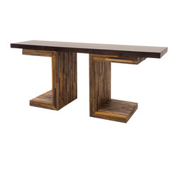 George Mixed Reclaimed Wood Console Table - Our Mixed Reclaimed Wood Console Table combines contemporary design with old, rustic reclaimed wood to make a unique, eco-friendly statement. This unique rustic console table with a geometric base is handcrafted from exotic demolition hardwoods such as salvaged wood from downed telephone poles and from 100-year-old flooring as well as walnut. Bring rustic charm to your livingroom.