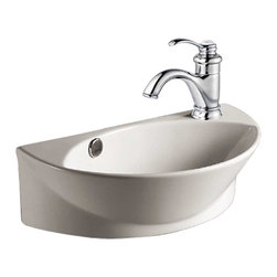 """Renovators Supply - Wall Mount Sinks Small Semi Arc White Vitreous Wall Mount Sink - Bathroom Sink: White wall mount bathrrom sink. This sink has a semi arc design and helps maximize space and fit in a small bathroom. Grade A vitreous china construction making it study and easy to clean. Wall mounted sink that will require lag bolts to install. Faucet, drain, p trap/s trap sold seperately. Width along wall 17 1/8"""" and projects 10.5""""."""