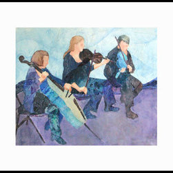 Rhapsody In Blue (Original) by Deborah Conn - Connecting these players visually underscored (pun intended) their musical relationship. Painting is matted under Plexiglas in a thin, matte-black metal frame.