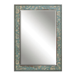 """Uttermost - Venosa Distressed Mirror - Frame Features A Heavily Distressed, Aged Blue Green Finish With Antiqued Ivory Details. Mirror Features A Generous 1 1/4"""" Bevel. May Be Hung Horizontal Or Vertical."""