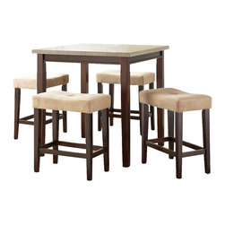 Steve Silver Furniture - Steve Silver Aberdeen 5 Piece Counter Height Table Set in Rich Brown [Set of 5] - 5 Piece Counter Height Table Set in Rich Brown belongs to Aberdeen Collection by Steve Silver The Aberdeen 5-piece dining set is simple sophistication . The counter height table features a Silvershield� top in a light driftwood grey with contrasting solid wood apron and legs in a light brown finish.  This is one tough laminate top that resists scratches, heat and moisture.   Counter height stools feature beautiful button tufted upholstered seats with tasteful baseball stitching.  Stools feature a solid wood frame for added strength and durability.  Counter Table (1), Counter Stool (4)