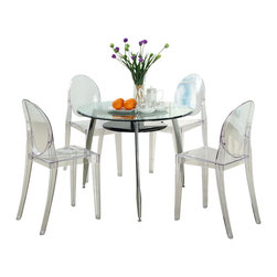 Modway - Modway EEI-908 Casper Dining Chairs Set of 4 in Clear - Combine artistic endeavors into a unified vision of harmony and grace with the ethereal Casper Chair. Allow bursts of creative energy to reach every aspect of your contemporary living space as this masterpiece reinvents your surroundings. Surprisingly sturdy and durable, the Casper Chair is appropriate for any room or outdoor setting. Pure perception awaits, as shining moments of brilliance turn visual vacuums into new realms of transcendence.
