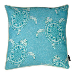 Lava - Sea Turtles 18 x 18 Pillow (Indoor/Outdoor) - 100% polyester cover and fill. Suitable for use indoors or out. Made in USA. Spot clean only