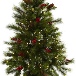 Nearly Natural - 4-foot Berries,Pine Cones,LED Lights and Decorative Urn Christmas Tree - Ring in the holiday season with this handsome,festive Christmas tree. Complete with decorative berries and pine cones,this cheerful tree is complete with 100 white LED lights for a warm glow that will lend an inviting look to your holiday decor.