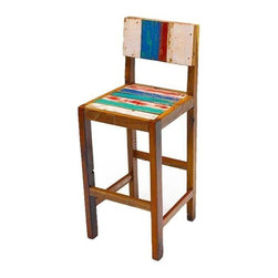 "Pre-owned Undertow Reclaimed Wood Bar Stool - Ready to retreat from the hustle and bustle? Let yourself be swept away on the Undertow Bar Chair. This comfy casual piece is constructed from colorful pieces of wood reclaimed from fishing boats that have seen their share of rough seas and now come to rest.    Benefits:    The Undertow Bar Chair is handmade from the wood of tropical fishing boats and iron from yesterday's bridges. Our pieces, large and small, are playful, due to the color and weathering inherent in each boat we buy; sophisticated by nature of our in-house design team, and made to last a lifetime: We use only the highest-quality fishing-boat teak.    Care, cleaning and technical information:  Highly durable marine grade wood is perfect for both indoor and outdoor use. We have treated this item with a water based organic semi-gloss finish therefore cleaning is very simple.  Low in harmful VOC's (volatile organic compounds) it is comparable to oil-based varnish for its high resistance to abrasion, water and solvents. This item cleans up easily with soap and water. As it cures, the molecules become cross linked in a lattice-like pattern that is much more durable than the single-strand bonds formed by conventional water-based finishes. This makes it a good choice for high-wear interior applications such as tabletops. It will have a very slight shine to it.     Number of pieces included: 1    Additional Dimensions:   Seat Height 30""       Back Rest Height 15""    Color: Wood is a natural material that varies in color, grain pattern and over-all appearance and texture. While our product images are intended to represent a wide spectrum of a materials and meant to display various characteristics, they do not show all variations. Each piece has its own individual characteristics; no item is exactly the same although we do keep the colors schemes consistent. The wood grain and coloring do vary slightly."