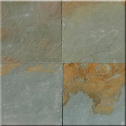 "Aqua Rustic Slate Solid Polished Floor Tiles 12"" x 12"" - Lot of 300 TIles - Aqua Rustic Slate Cleft Finished 12"" x 12"" Floor or Wall tiles. Cleft is the rough un-even finish on the tile. Chair Rail, Pencil Moldings."