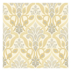 Brewster Home Fashions - Fusion  Yellow Ombre Damask Wallpaper Bolt - Like a glistening ray of sunshine this radiant yellow wall covering ignites beauty on walls with a contemporary damask design updated with a chic ombre effect.