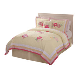 Pem America - Golden Trail Twin Quilt with Pillow Sham - The Golden Trail quilt set is a quilt that is certain to brighten up your bedroom decor with its pale yellow base color which is accompanied but coordinating pinks and greens. Beautiful flower and butterfly appliques are the spring filled designs that are on the face of the quilt. Incorporate this lovely quilt into your home today. Hand crafted quilt set includes 1 twin quilt (68x86 inches) and 1 standard sham (20x26 inches). Face cloth and fill are 100% natural cotton.  Prewashed for out of the bag comfort. Hand crafted with embroidery. Machine Washable.