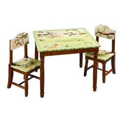 Guidecraft Papagayo Collection Table & Chairs Set - A combination of charm and lasting function, the Guidecraft Papagayo Collection Table & Chair Set is sure to be a big hit with any child. Beautiful shades of greens and browns, sweet jungle animals, turned hardwood legs and posts in a warm espresso finish, and hand-carved and hand-painted details make this set a delightful addition to a child's bedroom, playroom, or family room.Designed with children's safety in mind, this set features double-bolt table leg construction for extra stability and angled chair legs to prevent tipping. The perfect place for your child to sit and color or leaf through picture books, this table-and-two-chair set will offer years of enjoyment. Adult assembly required.About GuidecraftGuidecraft was founded in 1964 in a small woodshop, producing 10 items. Today, Guidecraft's line includes over 160 educational toys and furnishings. The company's size has changed, but their mission remains the same; stay true to the tradition of smart, beautifully crafted wood products, which allow children's minds and imaginations room to truly wonder and grow.Guidecraft plans to continue far into the future with what they do best, while always giving their loyal customers what they have come to expect: expert quality, excellent service, and an ever-growing collection of creativity-inspiring products for children.