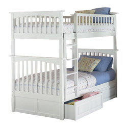 Atlantic Furniture - Atlantic Furniture Columbia Twin over Twin Bunk Bed-Antique Walnut - Atlantic Furniture - Bunk Beds - AB55104 - The Atlantic Furniture Columbia Twin over Twin Bunk Bed has a clean modern look with subtle Mission styling. The simple lines of the head and foot boards have the square posts and slats characteristic of this design. This versatile bunk bed is available in a number of options that is sure to please both you and your child.