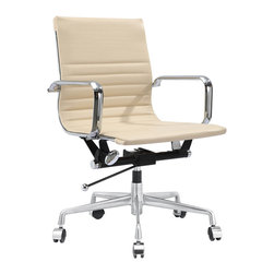 Jossio - Dieci Office Chair by Jossio, Beige - Swivel, roll and lift up and down as you please. You are the boss of the office and the world. Fabricated with fine leather in your choice of colors, you will look fabulous in this executive, management office chair.