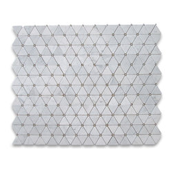 Carrara White 2-3/4 inch Triangle Mosaic Tile w/ Gray Round Dots Honed - Marble - Premium Grade Triangle White Carrara Marble Mosaic tiles. Italian Bianco Carrera White Venato Carrara Honed 2 3/4 inch Triangle Mosaic w/ Gray Round Dots Wall & Floor Tiles are perfect for any interior/exterior projects. The Carrara White Marble Triangle Mosaic tiles with Grey Dots can be used for a kitchen backsplash, bathroom flooring, shower surround, countertop, dining room, entryway, corridor, balcony, spa, pool, fountain, etc. Our Premium White Carrera Marble Triangle Mosaic tiles with a large selection of coordinating products is available and includes brick, herringbone, basketweave mosaics, 12x12, 18x18, 24x24, subway tiles, moldings, borders, and more.