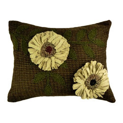 "Homespice Décor - White Sunflowers Pillow, 12"" x 16"" - Our pillows make great accents for your home and add beauty and comfort. These unique pillows combine old world techniques such as appliques and hooking, with interesting designs to provide an exciting new decorating element.  Trim, never pull loose ends. What may appear as an irregularity color or construction is actually part of the ""Handmade"" look."