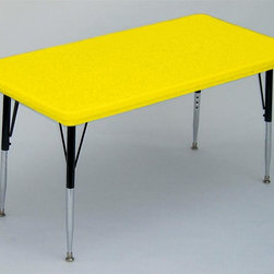 Correll Inc - Small Rectangular Activity Table in Yellow (S - Finish: Short/YellowResist stains and damage from food, juices, crayons, paint, and even permanent markers. Light weight, scratch and impact resistant. Colors go all the way through. Not wear or scrape off. Free standing, full perimeter welded steel frames. Legs attach to frames with 3 bolts each. Free speed wrench for fast height adjustments. Standard legs adjust from 21 in. to 30 in. in 1 in. increments. Short legs adjust from 16 in. to 25 in. in 1 in. increments. Pictured in Yellow. 24 in. W x 48 in. L