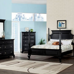 "Acme - 5-Piece Canterbury Collection Black Finish Wood Queen 4 Short Poster Bed Set - 5-Piece Canterbury collection black finish wood queen 4 short poster bed set with turned post ends and feet and paneled ends. This set includes the queen bed set, one nightstand, dresser, mirror and chest. Queen canopy 4 poster bed set with turned post ends and feet and paneled ends. Nightstand measures 28"" x 17"" x 28"" H. Dresser measures 62"" x 18"" x 38"" H. Mirror measures 42"" x 40"" H. Chest measures 38"" x 18"" x 54"" H. Some assembly may be required. TV console also available separately and at additional cost and measures 46"" x 18"" x 38"" H. Eastern king available at additional cost."